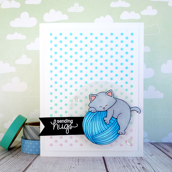 Cat and Yarn Card by Ka Slagoski | Newton Unwinds Stamp Set & Die Set by Newton's Nook Designs #newtonsnook