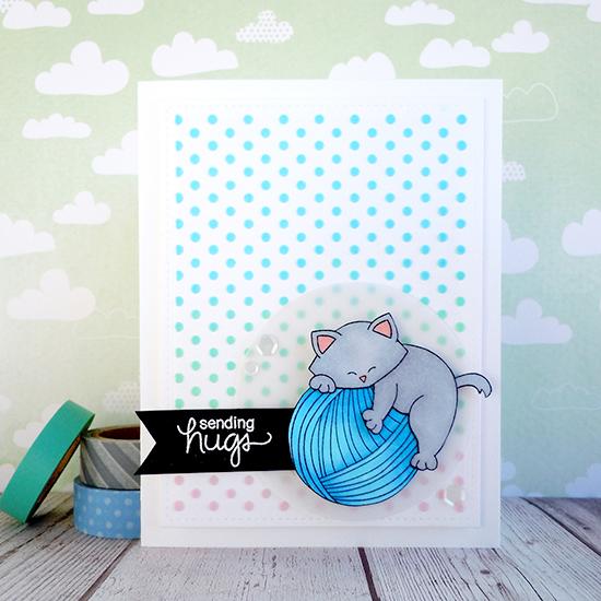Cat and Yarn Card by Ka Slagoski | Newton Unwinds Stamp Set & Die Set by Newton's Nook Designs #newtonsnook