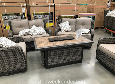 Agio 5 Piece Woven Deep Seating Set With Fire Table