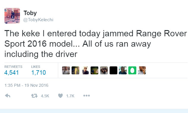 Lol. See what happened when a keke bashed a 2016 Range Rover