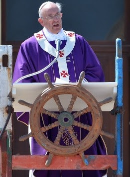 Pope on ship