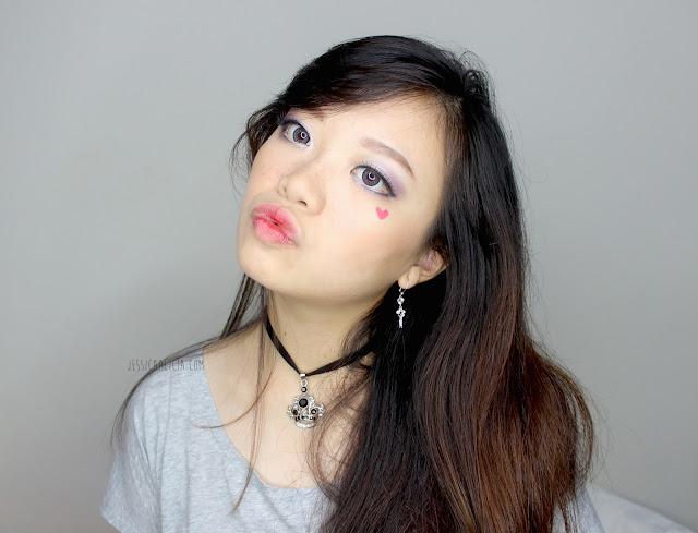 Mizzu Cosmetics Eyeshadow Velvet Plum & Fake Eyelashes review by Jessica Alicia