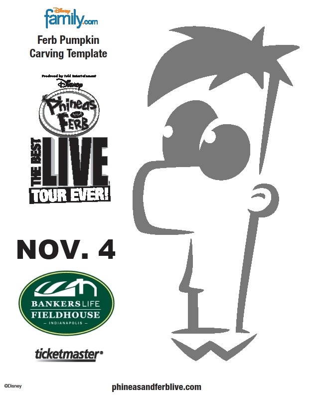 Free Ferb Pumpkin Carving Template Coloring Page Stencil Pattern