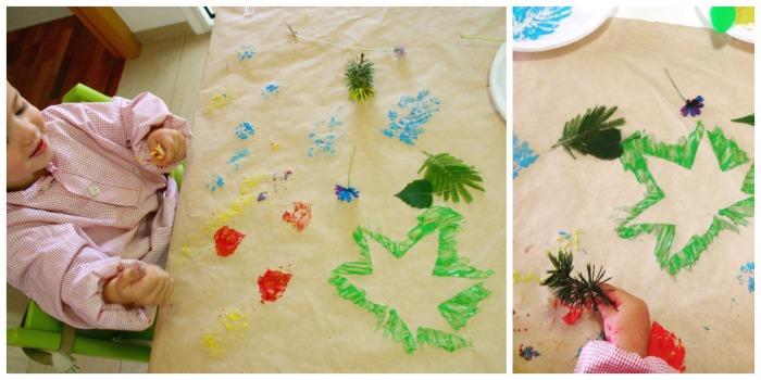 manualidad infantil creativa primavera: pintar con flores y plantas