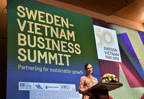 Crown Princess Victoria wore H&M print silk dress H&M Conscious Exclusive at Sweden-Vietnam Business Summit