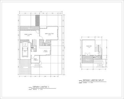 Denah lantai 1 dan split rumah tipe 140