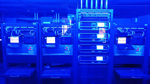 Movie theater blue lights and control panels