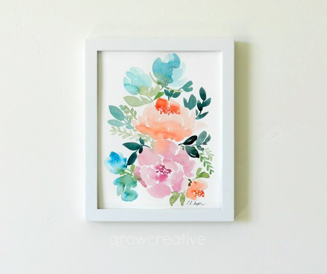framed watercolor flower painting: grow creative blog