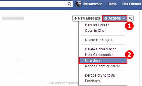 how to retrieve archived messages on facebook