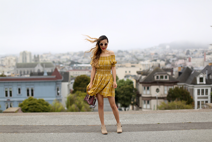 Chicwish Perfect Grid Off shoulder Dress in Mustard, off shoulder dress, yellow off shoulder dress, ankle booties, 31 phillip lim mini pashli bag, quay cat eye sunglasses, summer in san francisco, san francisco alta plaza park