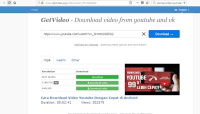 Download video youtube melalui situs getvideo.org