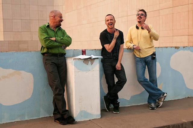 Vince Gilligan, Bryan Cranston et Aaron Paul sur le tournage de Breaking Bad