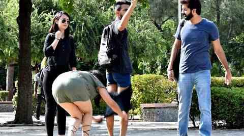 Girl Removing Pants in Public Prank