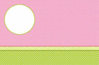 Rosa, Verde y Lunares Blancos: Invitaciones para Imprimir Gratis para Fiesta de 15 años