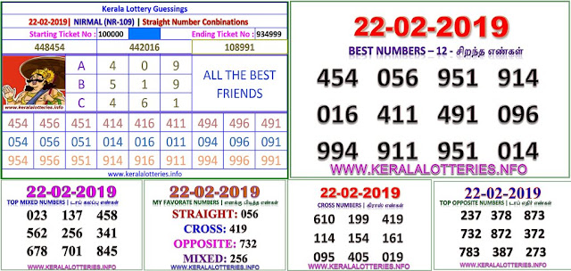 Nirmal NR-109 Kerala lottery abc guessing by keralalotteries.info