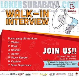 Walk In Interview di Fish & Co (Boga Group) Surabaya Terbaru Mei 2019