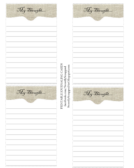 Sweetly Scrapped: My Thoughts- Free Printable Journaling Cards