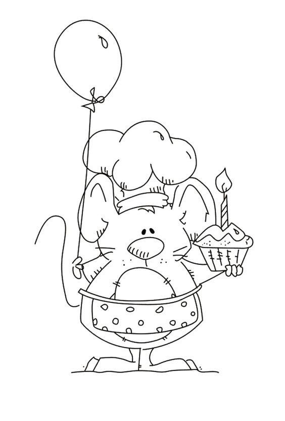 Tranh tô màu con chuột và quả bóng bay