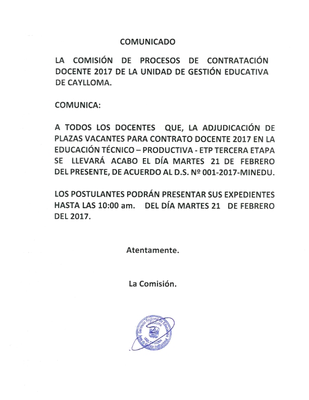 Contrato docente 2017 educaci n t cnico productiva etp for Convocatoria de plazas docentes 2017
