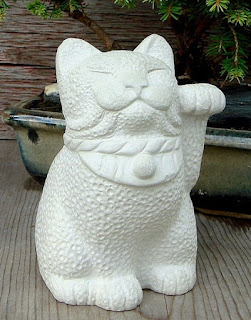 International Cat's Day: Maneki Neko Lucky Cat Japanese Bobtail Garden Sculpture by Tyber Katz on Etsy | MyCatSylvia.com