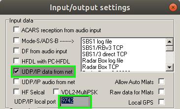 PlanePlotter UDP configuration