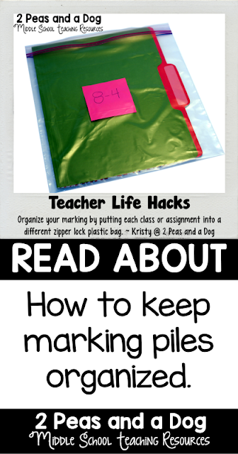 Keep marking piles organized with this quick assessment tip from 2 Peas and a Dog.