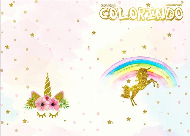 Imprimible carátula de libro para colorear de Fiesta de Unicornios.