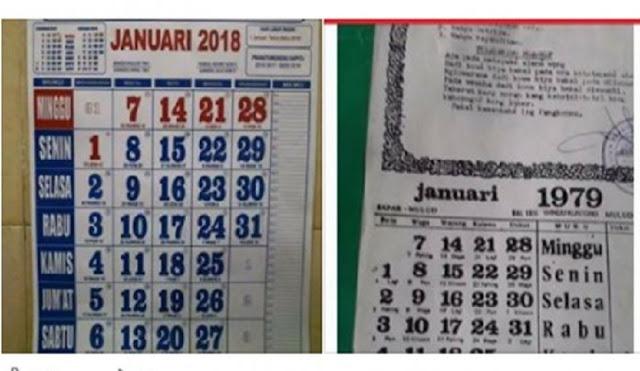 Mistis? Heboh Kalender 2018 Sama Dengan Tahun 1979, Ternyata Ini Penjelasannya