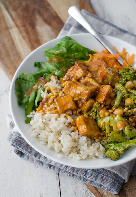 Peanut Tofu Buddha Bowl Recipe