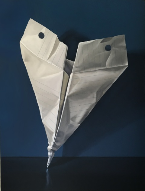 Jeanne vadeboncoeur paper airplane original oil painting still life