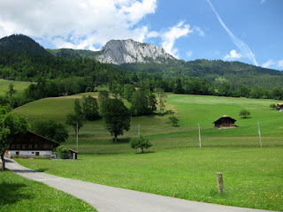 Pastoral view with distant rock face, en route to Lenk im Simmental, Switzerland