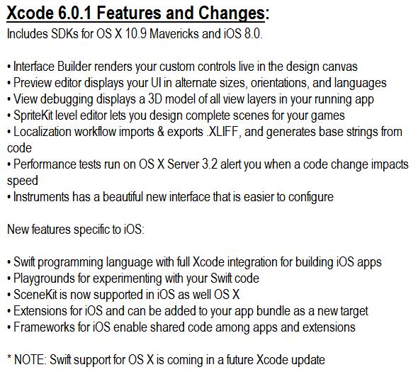 Xcode 6.0.1 Features and Changes