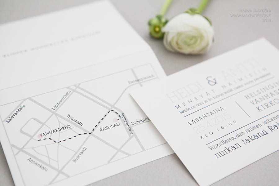 hääkutsu hääinfo kartta juhlapaikalle yksinkertaiset hääkutsut makeadesign