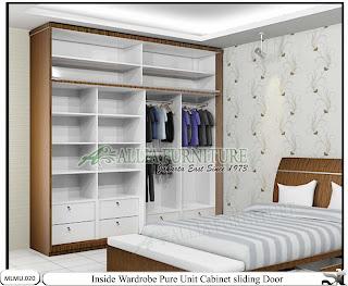 Dalam lemari minimalis model sliding unit cabinet Pure