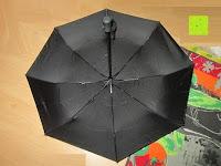 Schirm unten: GHB Automatic Regenschirm Taschenschirm mit 96 cm Durchmesser Schwarz