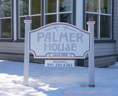 Palmer house sign, Built for Charles L. Palmer, owner of Palmer Grocery and Mayor of Baker City in 1902