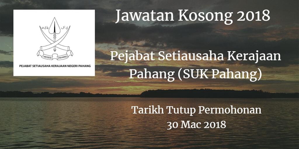Jawatan Kosong SUK Pahang 30 Mac 2018