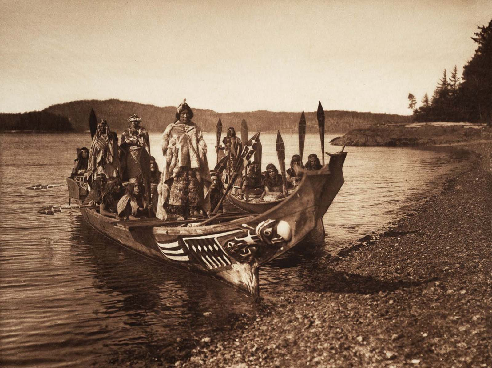 A Kwakiutl wedding party arrives in canoes. 1914.