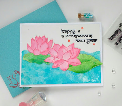 Lotus of prosperity, Ranganjali, Card by Ishani, lotus stamp card