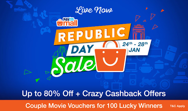 Get up to 80% off and incredible cashback offers at Paytm Mall's Republic Day Sale