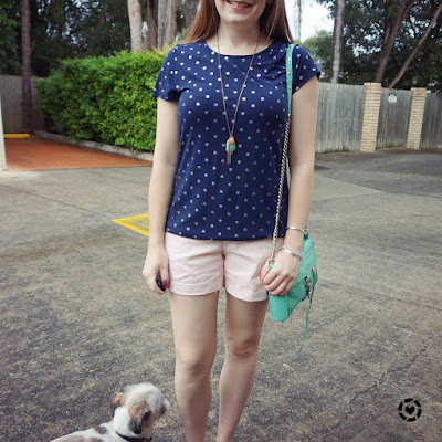 awayfromblue instagram navy polka dot foil tee pastel pink shorts SAHM style