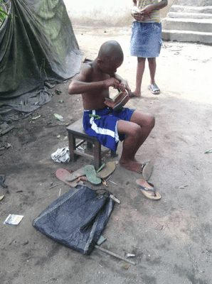 Boy Constructs Keke Napep with Slippers (God Given Gift)