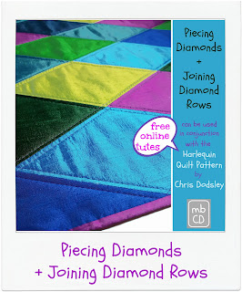 Piecing and Joining Diamond Rows by www.madebyChrissieD.com