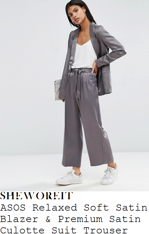 jade-thirlwall-asos-silver-grey-long-sleeve-open-front-relaxed-fit-satin-blazer-and-matching-high-waisted-tie-belt-detail-wide-leg-culotte-suit-trousers