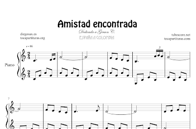 Friendship by diegosax Sheet Music for Piano (Amistad Encontrada)