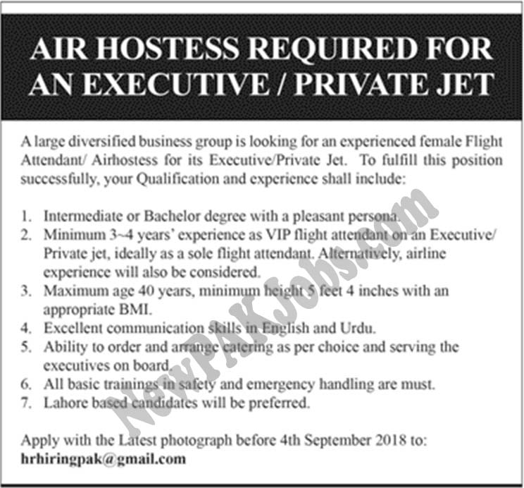 Jobs Opportunities as Air Hostess in a Private Jet