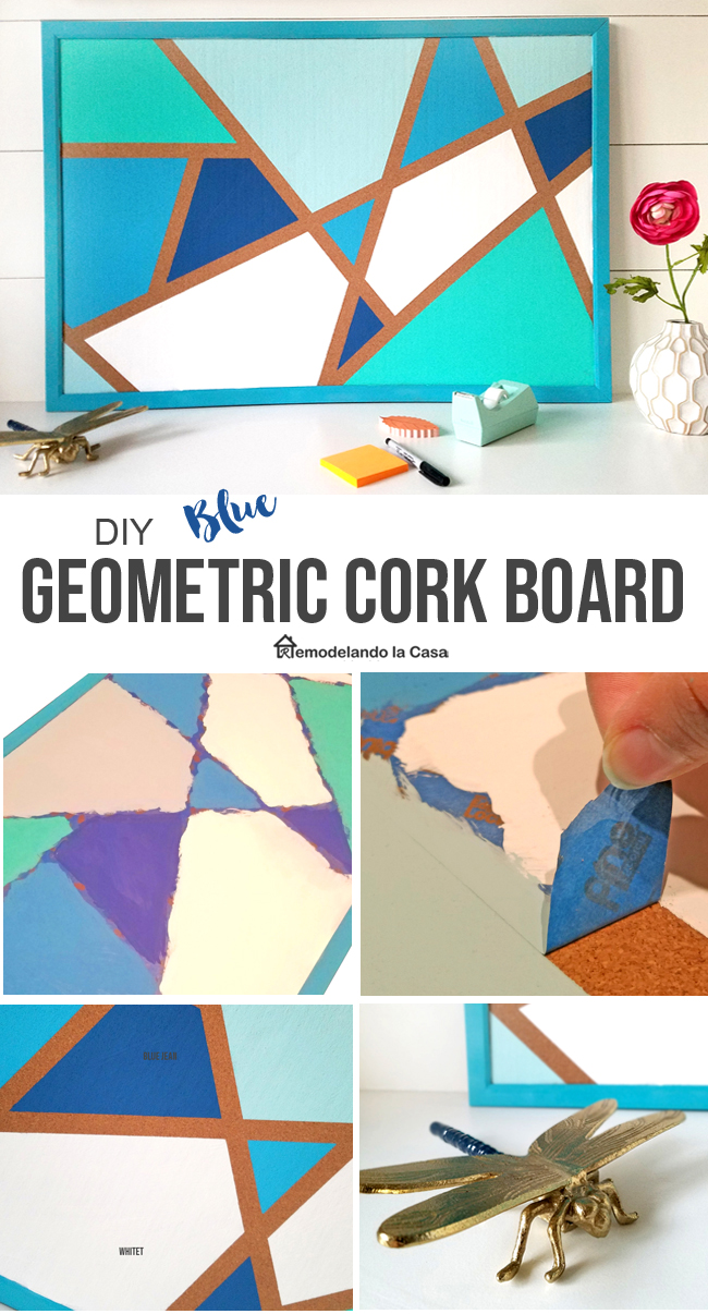 Blue geometric design on cork board