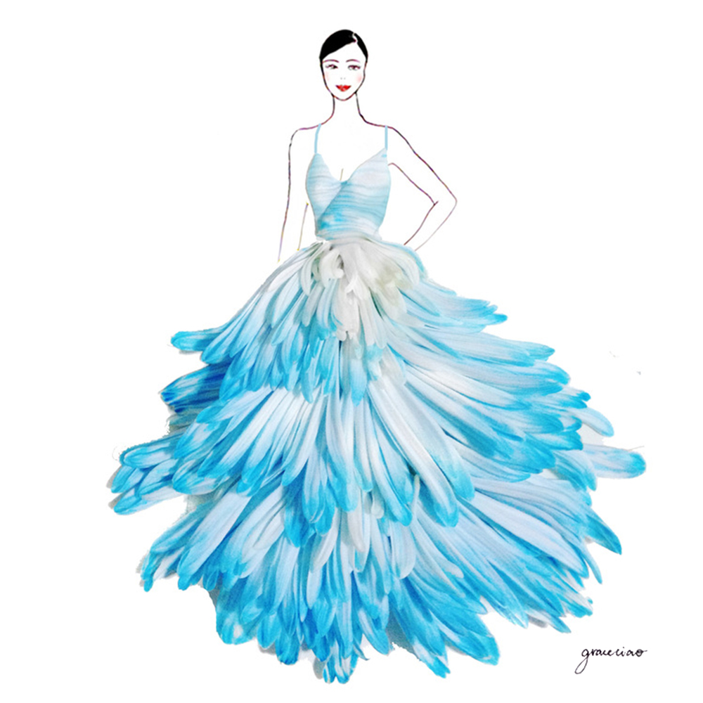 02-Blue-Dyed-Chrysanthemums-Nature-and-Grace-Ciao-Design-and-Draw-Dresses-with-Petals-www-designstack-co