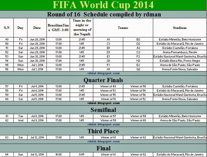 World cup schedule dates in nepali time