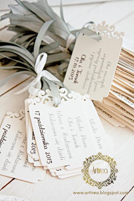 zaproszenie i dodatki ślubne srebrne